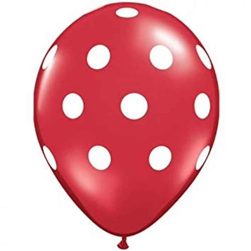Rdeči baloni z belimi pikami