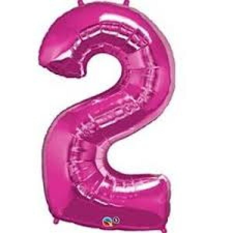 Magenta številka 2 balon