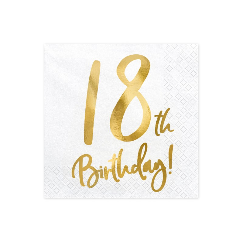 Servieti 18th Birthday, beli, 33x33cm, 20kom