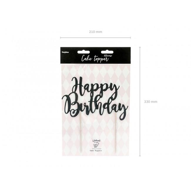 Napis za torto, Happy Birthday, črn, 22.5cm