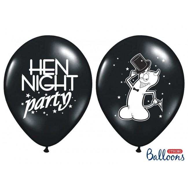 """Lateks baloni 30cm, """"Hen night party"""", Črni"""
