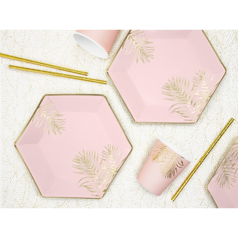 Krožniki v nežno roza barvi z listi, 23cm