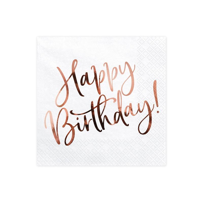 Serviete, Bele z rose gold napisom Happy Birthday, 33x33cm