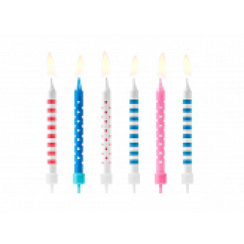 rojstnodnevne svečke pike in črte 6,5cm