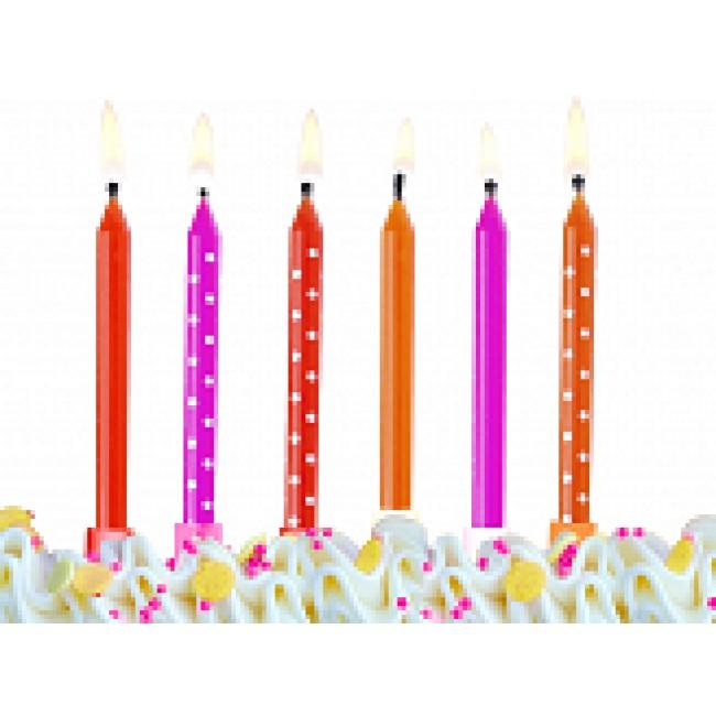 rojstnodnevne svečke pisane 6,5cm