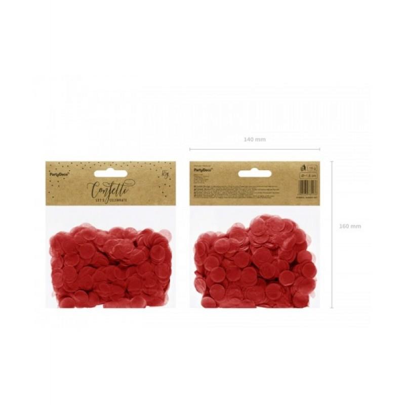 Okrogli konfetki, rdeči