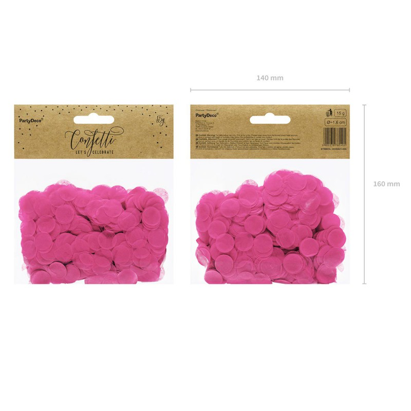 Okrogli konfetki, temno roza