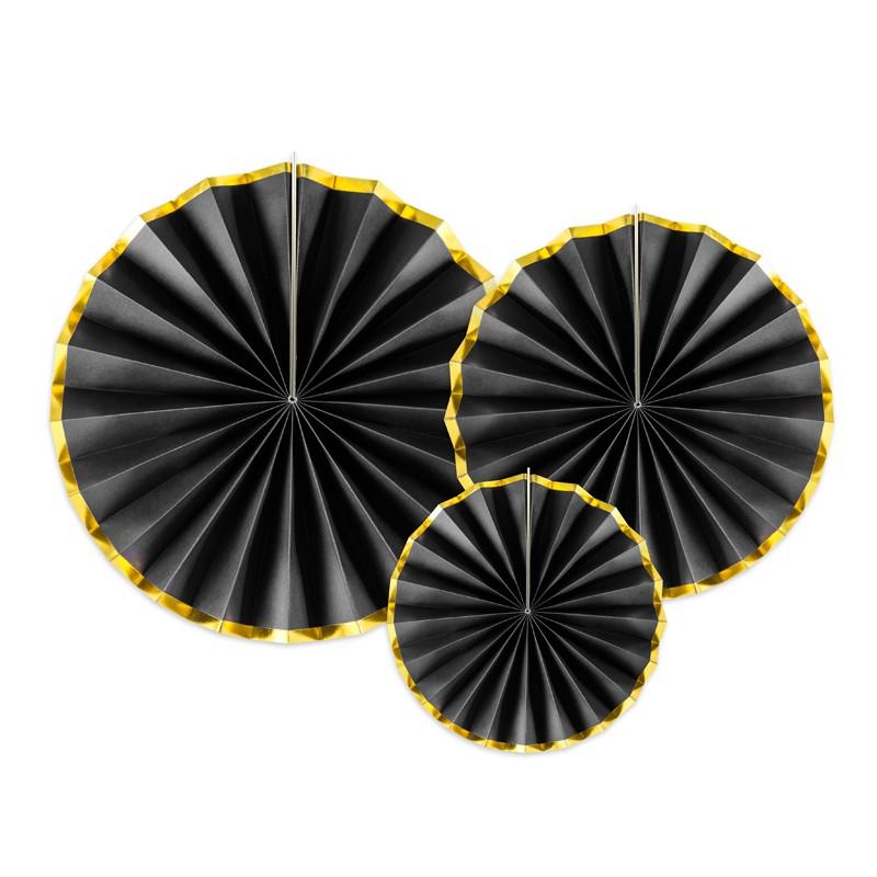 Dekorativne rozete, črne z zlatim robom