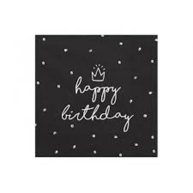 Serviete happy birthday, črne
