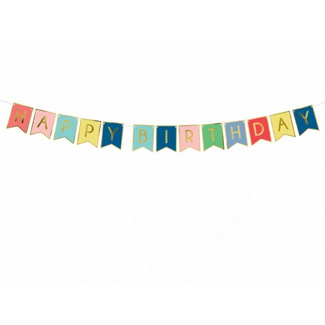 Banner Happy Birthday, mix, 15 x 175 cm