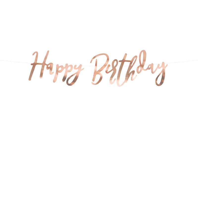 Banner Happy Birthday, rose gold, 16.5x62cm