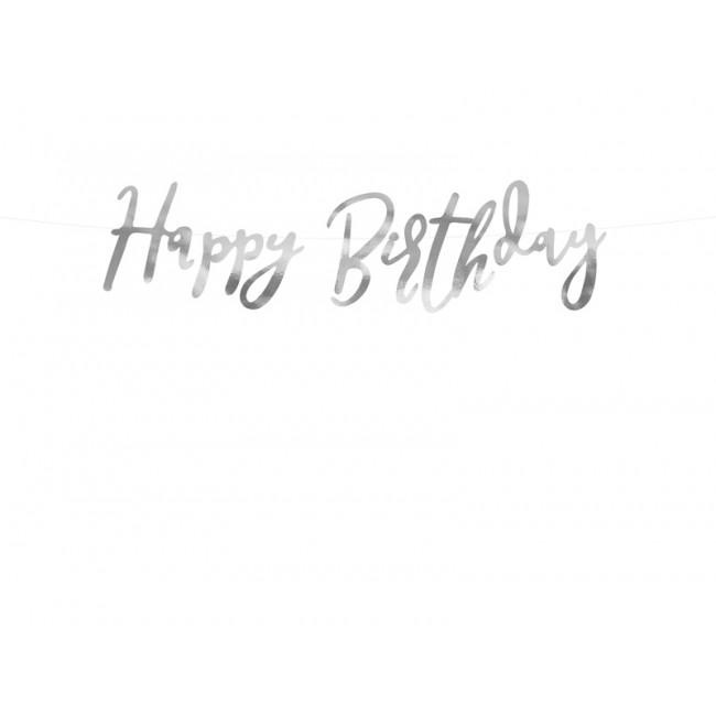 Banner Happy Birthday, srebrni, 16.5x62cm