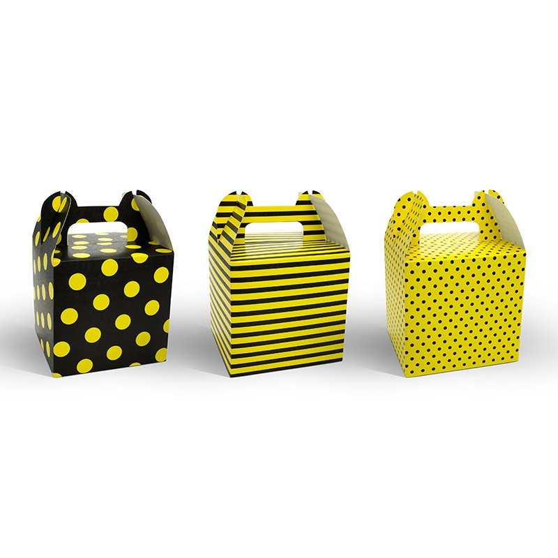 Dekorativne škatle v rumeno-črni kombinaciji, 8.7 x 8.7 x 12.5 cm