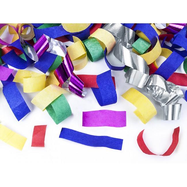 Strelec konfetov, večbarvni svaljki, 80cm