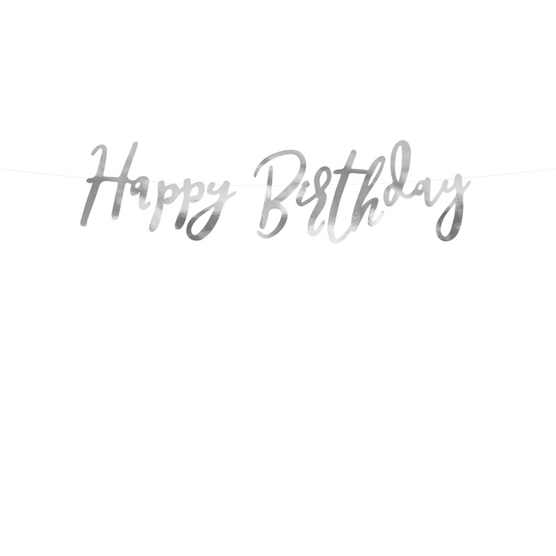 Banner Happy Birthday, srebrni, 16.5x62cm