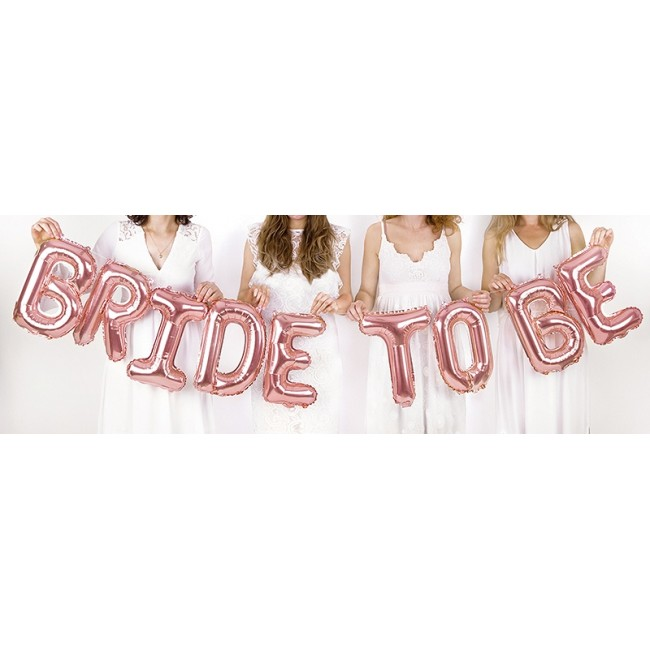 Folija balon Bride to be, 340x35cm, rose gold
