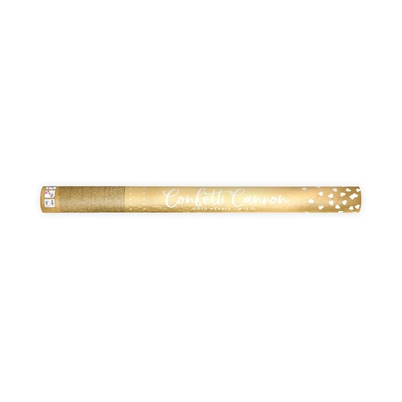Strelec konfetov, zlati srčki, 60cm