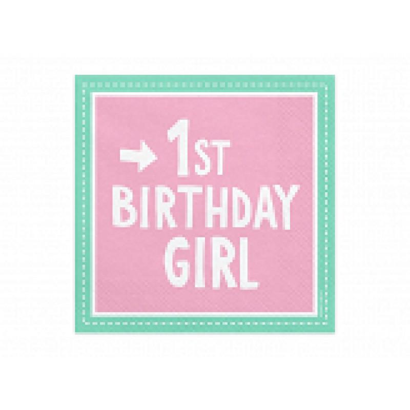 Serviete 1st Birthday Girl, 33x33 cm
