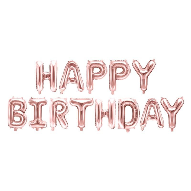 Foil Balloon Happy Birthday, 340x35cm, rose gold