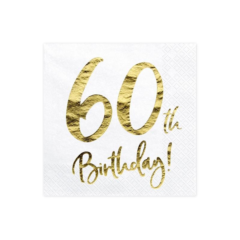 Servieti 60th Birthday, bela, 33x33cm