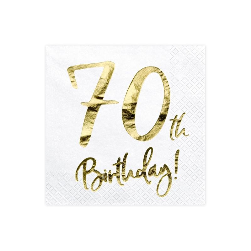 Servieti 70th Birthday, bela, 33x33cm