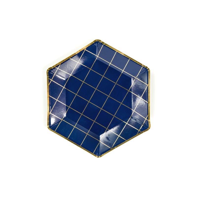 Krožniki, šestkotnik, modro-zlata, 23cm