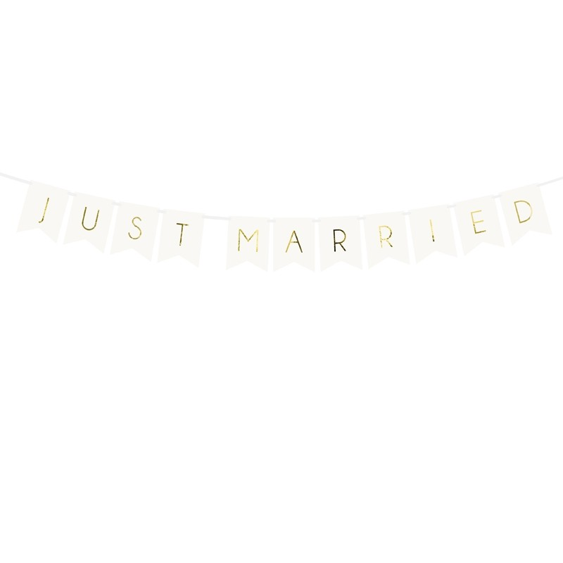 Banner Just Married, bela, 15 x 155 cm