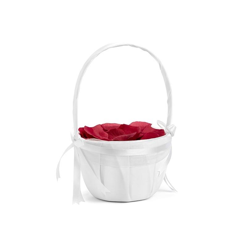 Poročna košarica za cvetne liste, bela