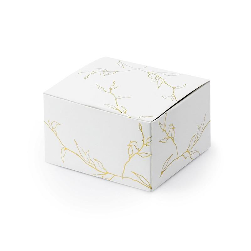Škatlica z zlatim vzorcem, bela, 6x3.5x5.5cm