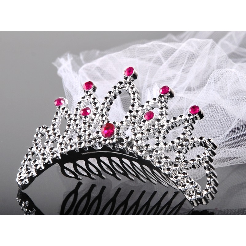 Tiara with a veil, silver