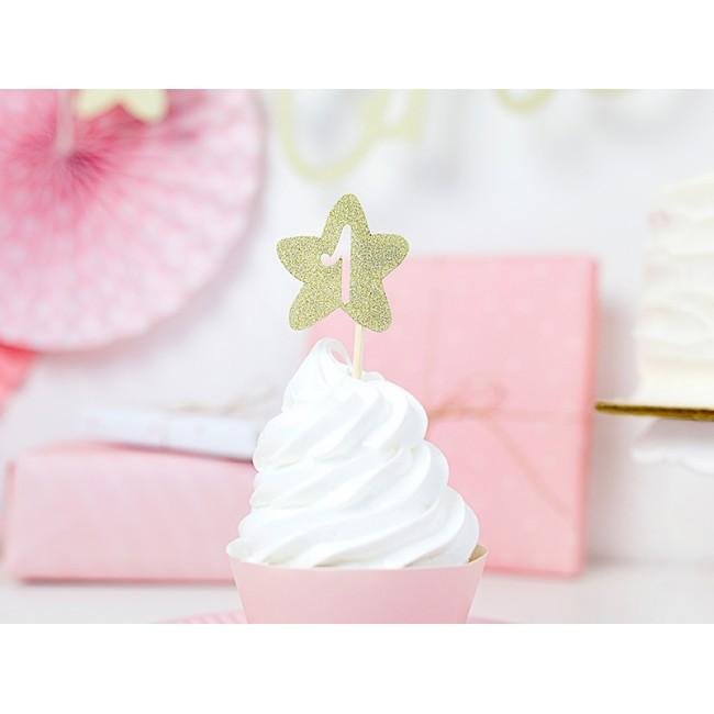 Dekoracija za cupcake 1st Birthday, gold