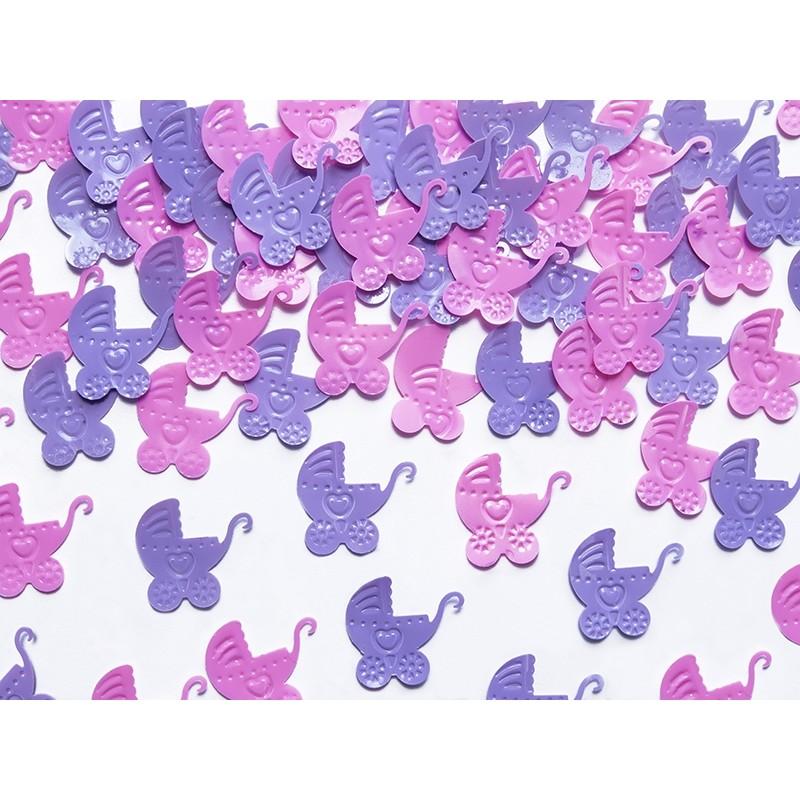 Konfeti vozički, pink in vijola, 15g