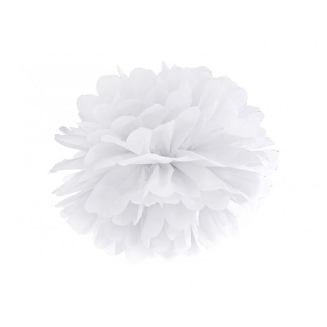 Beli pom pom, papirnat okrasek, 35cm