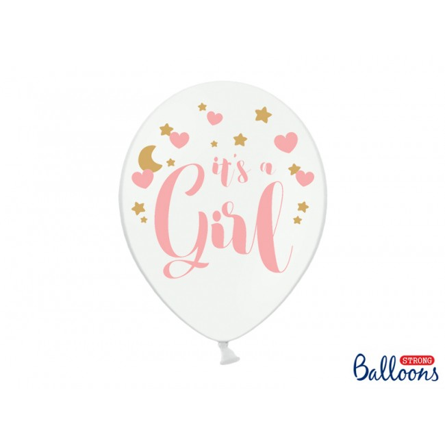 Balloons 30cm, It's a Girl, Pastel Pure White