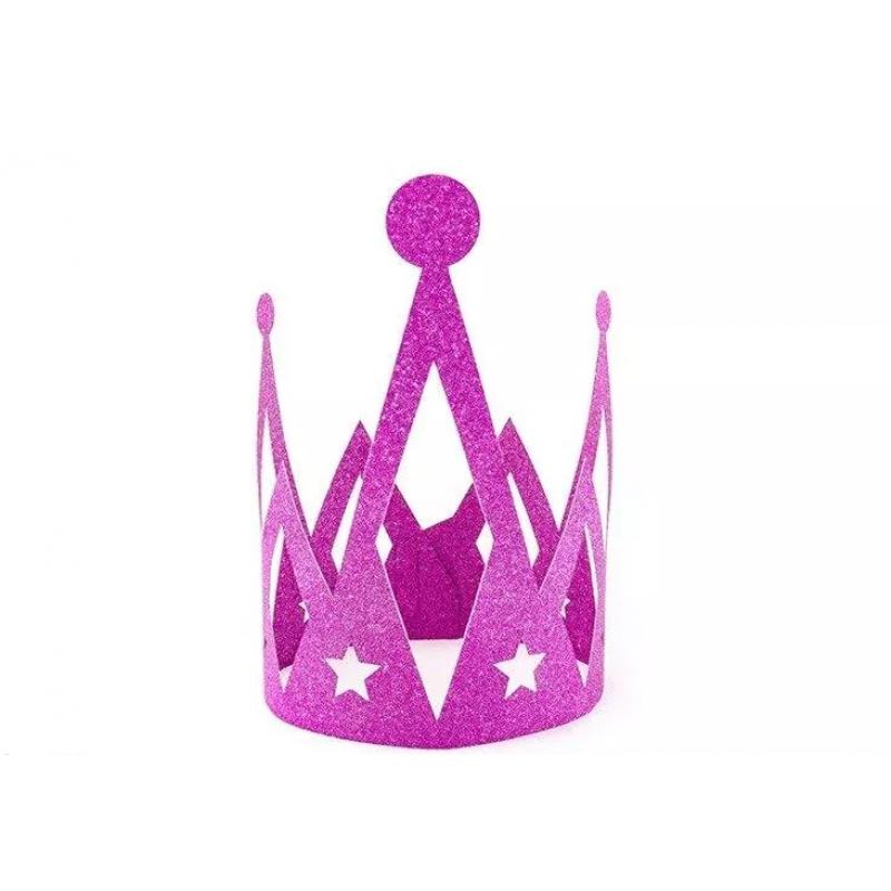 Krona Princess, temno roza z bleščicami