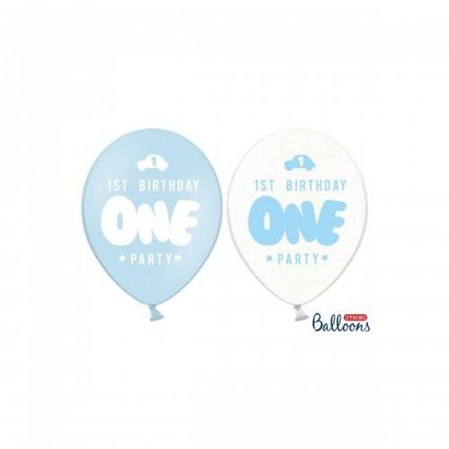 baloni ena, pastel baby modra 6 kom