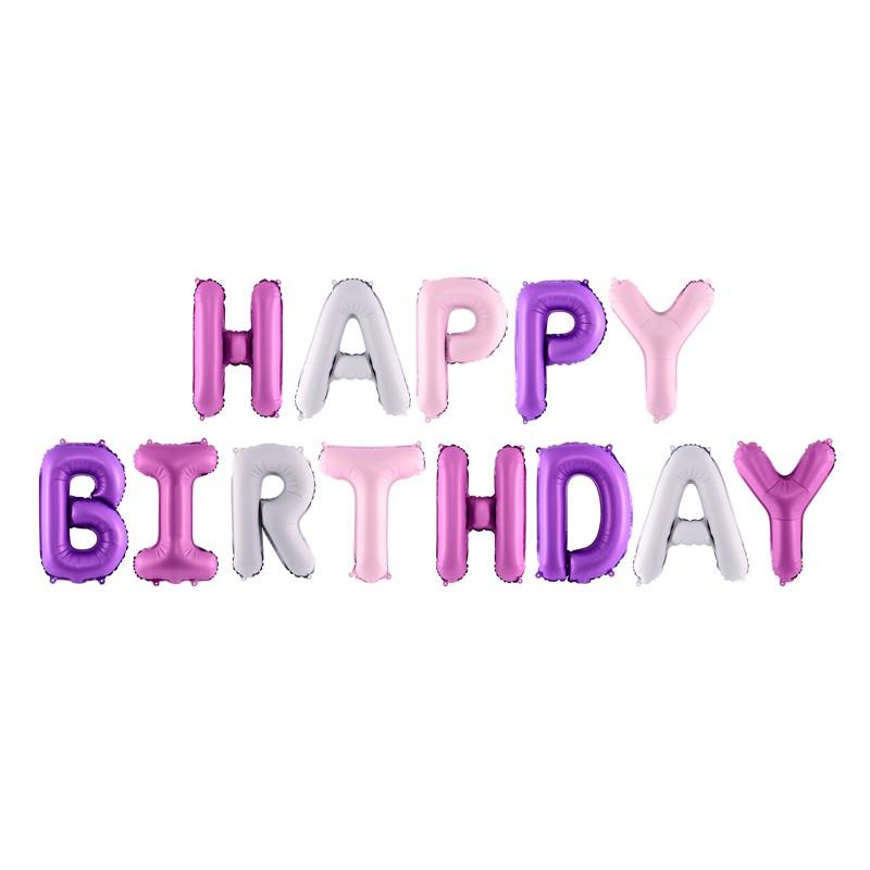 Folija Balon Happy Birthday, 340x35cm, mix