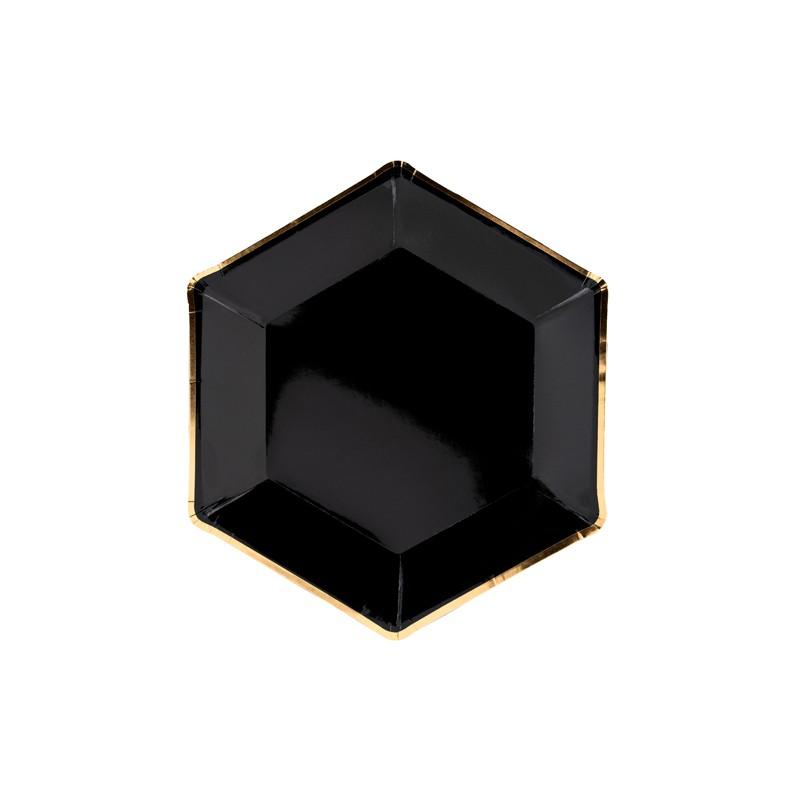Krožniki Let's Celebrate, črni, 23cm- 6X