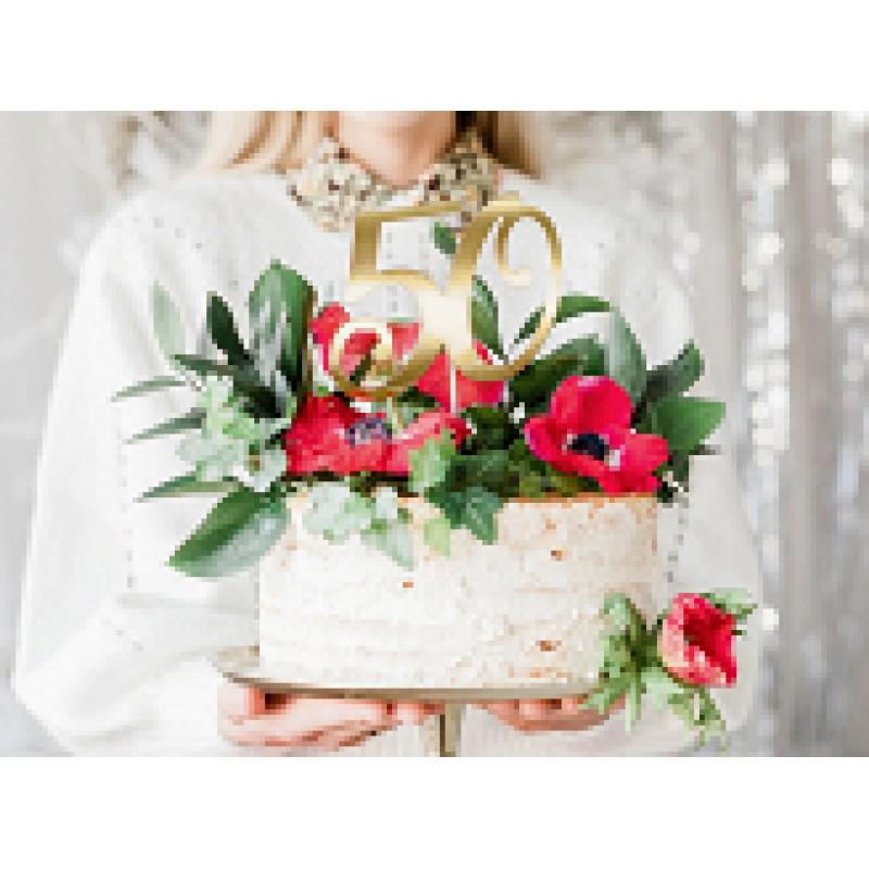 cake topper 50 zlati, 20,5cm