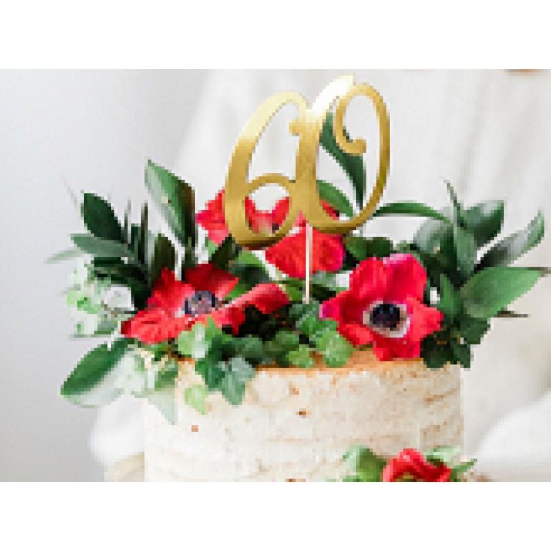 cake topper 60 zlati, 20,5cm