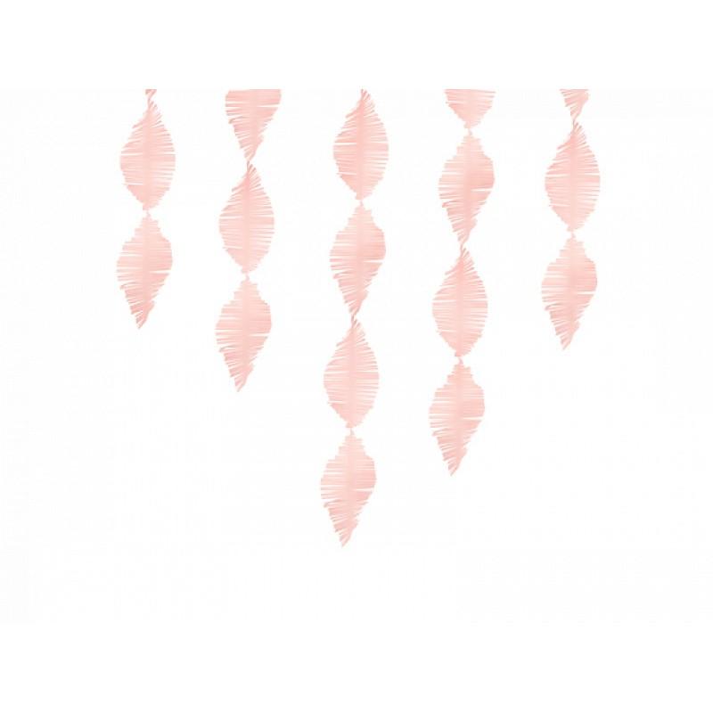 Crepe paper fringe garland, svetlo roza