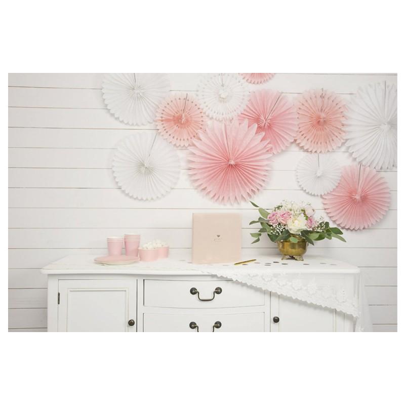 Tissue fan decorative rosettes, svetlo roza